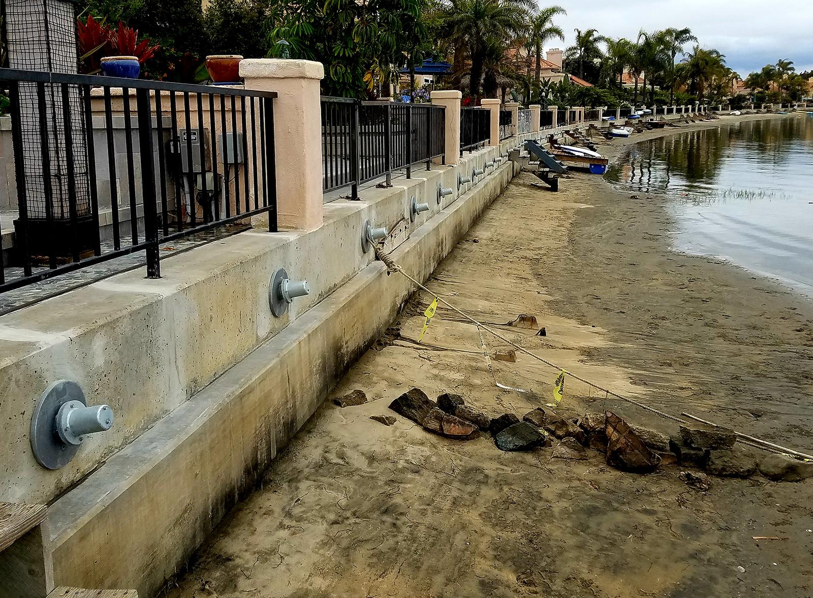 Installation of tieback anchors in Coronado, California
