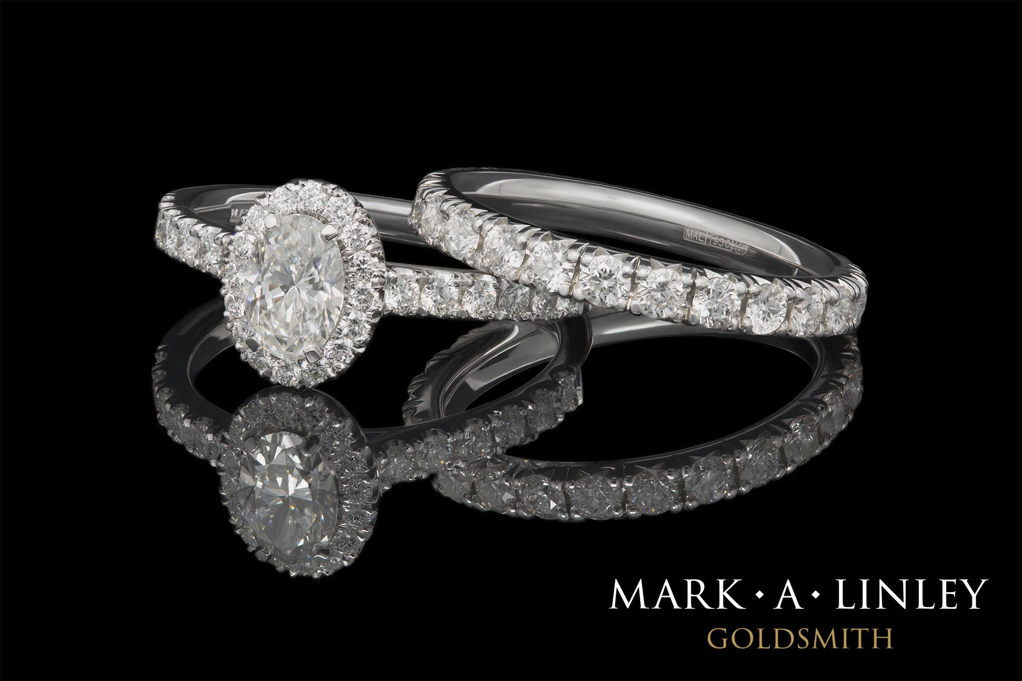 Diamond halo engagement ring & eternity ring