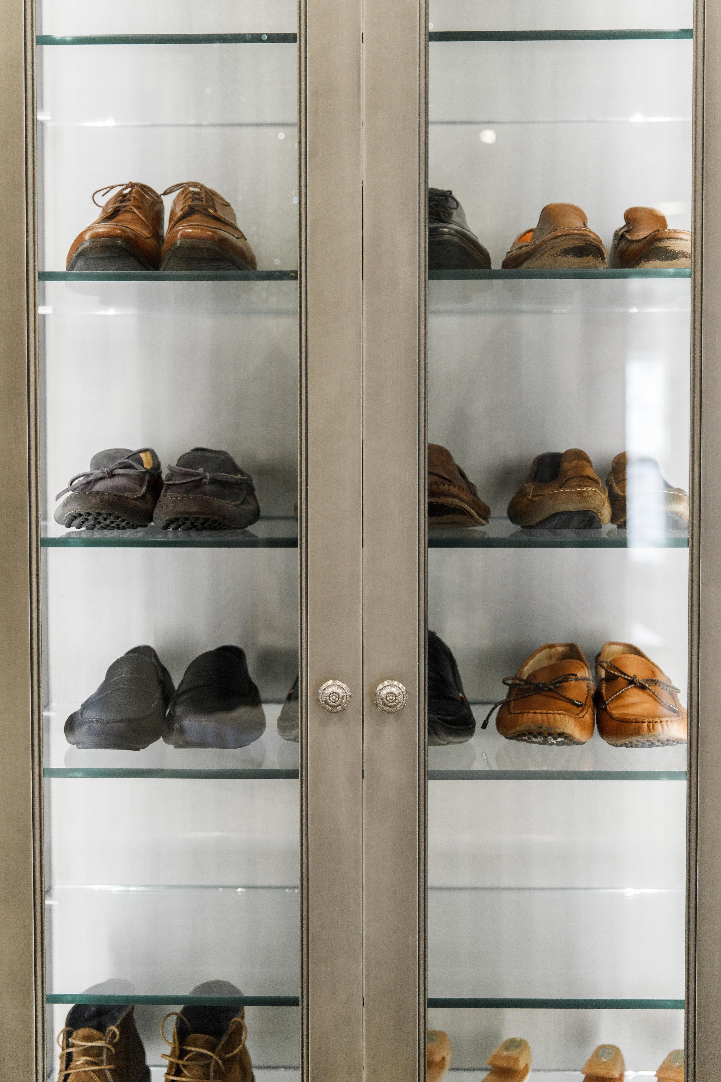 Master closet shoe organization