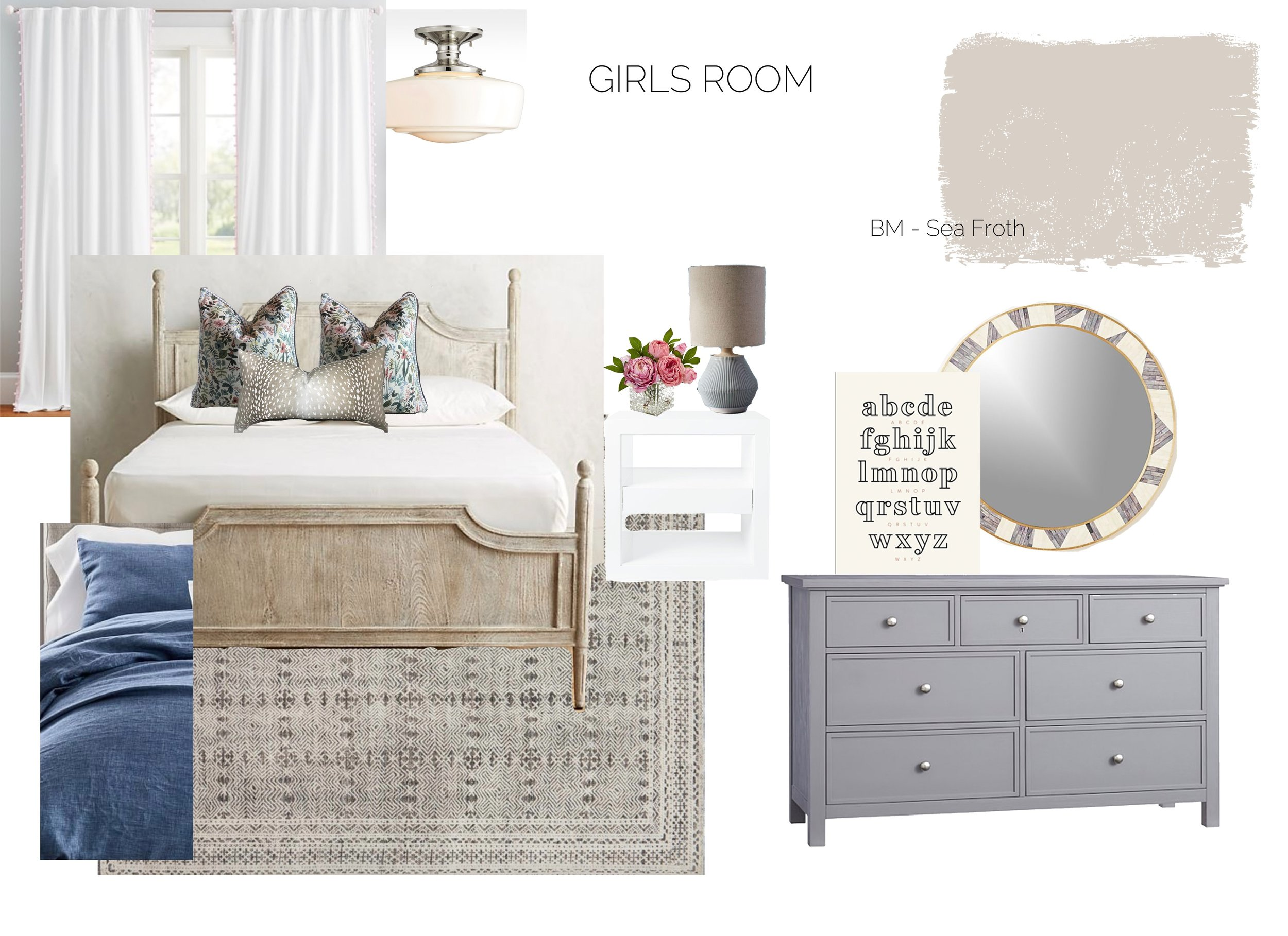 Girls soft and feminine bedroom