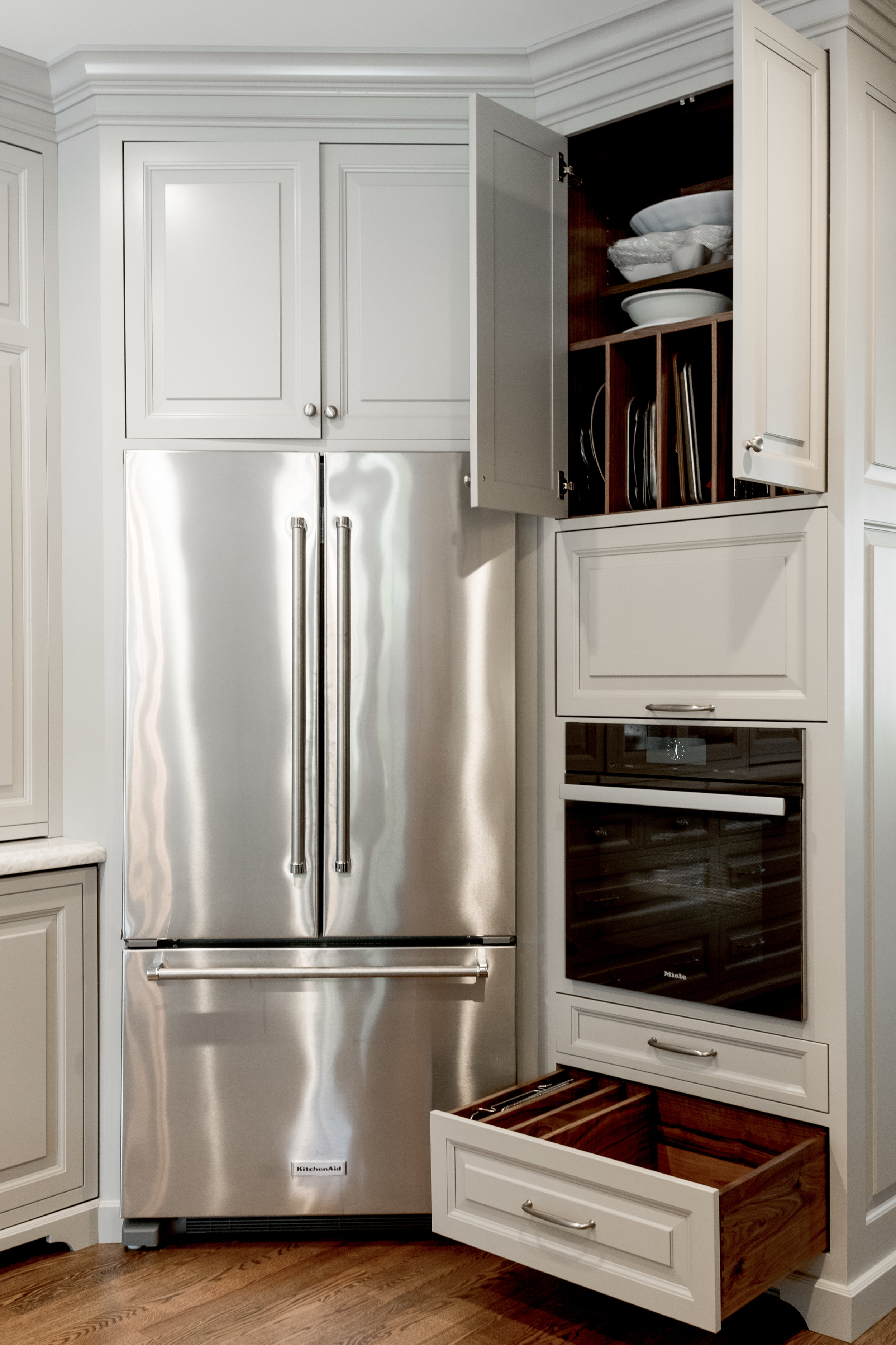 Kitchen cabinets in revere pewter and drawer organization