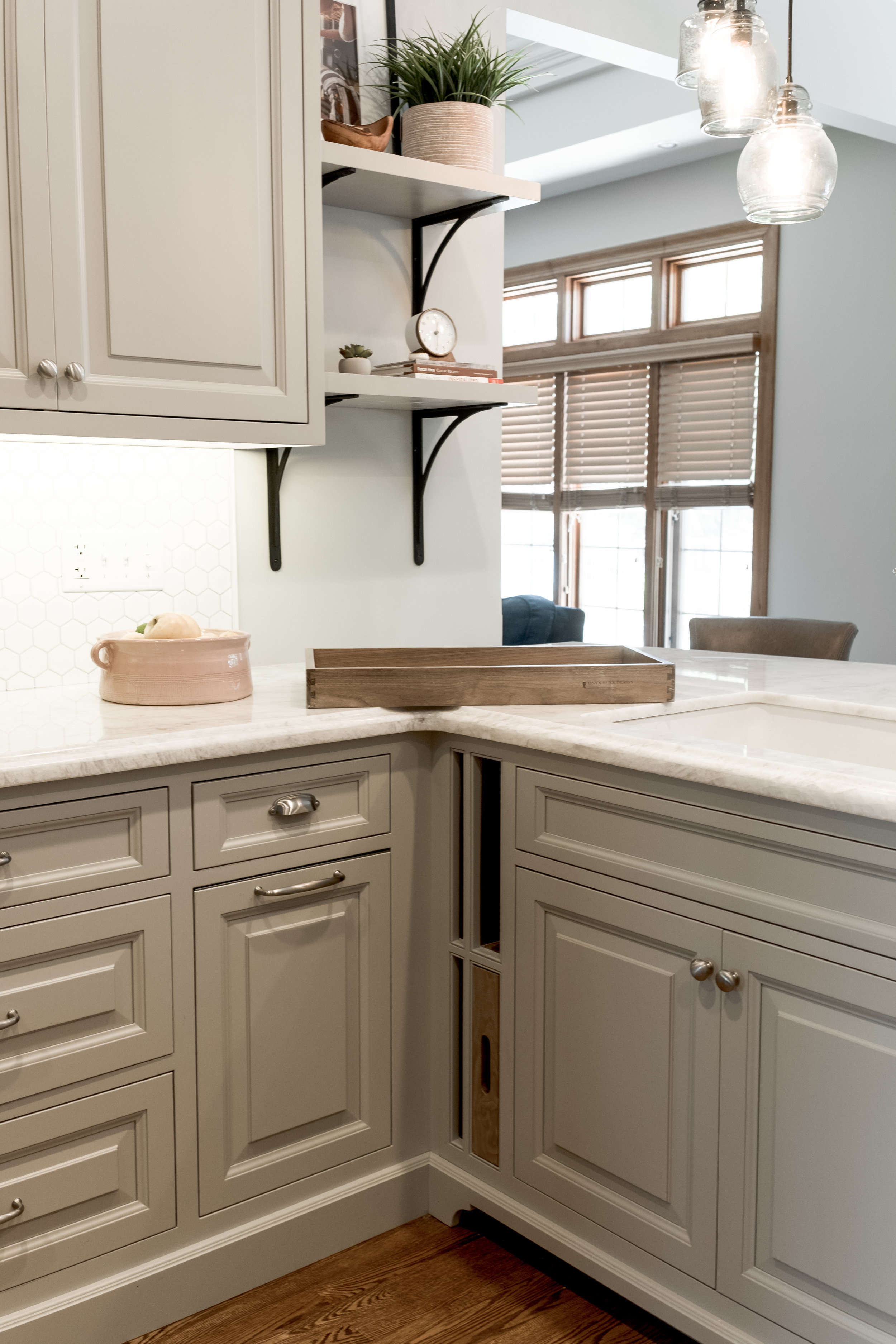 Kitchen cabinets with built in cutting boards