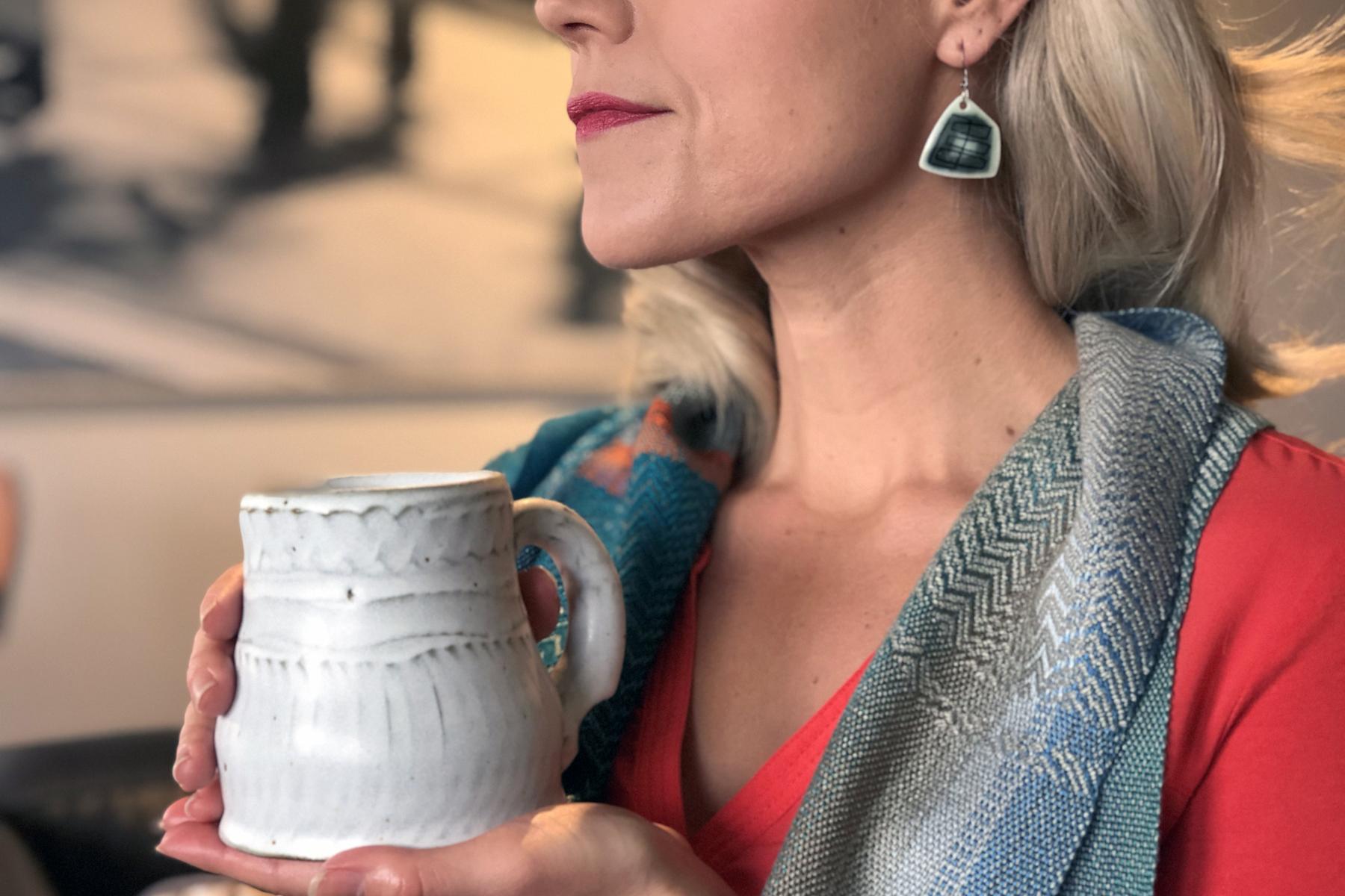 Porcelain Dangles , 2017 Sarah Jewell Olsen   Neutrals, Teals and Blues Scarf , 2017 Debbie Barrett-Jones   Low Bottom White Mug , 2017 Scott Jelich
