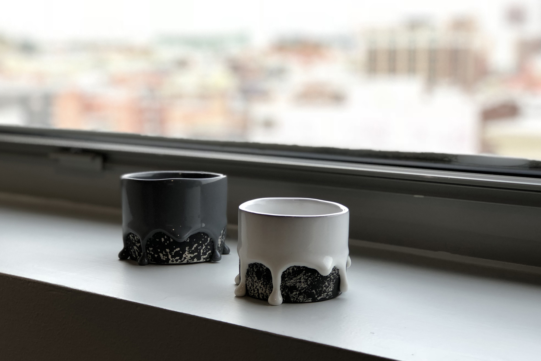 Black Dalmation Drippy Vase , 2017 Brian Giniewski   White Dalmation Drippy Vase , 2017 Brian Giniewski