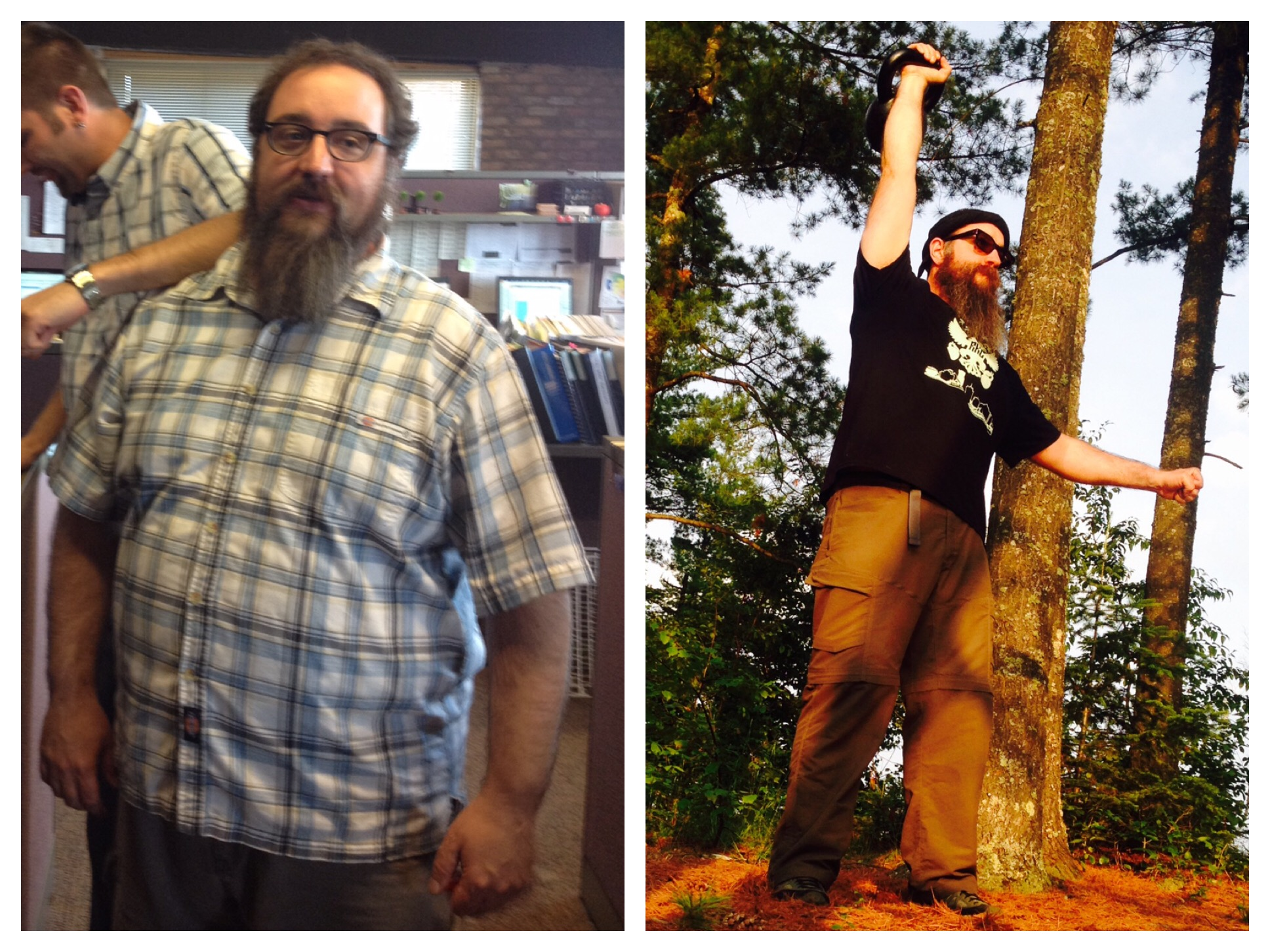Then + Now: ~100 pounds lost and real happiness found.  Beardy keeps it real in the office by incorporating movement into his workday so that weekends and holidays are all about the adventures!