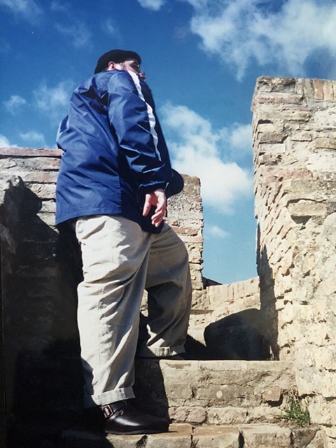 "Beardy's ""journey to the top"" - Torre Grossa - San Gimignano, Italy.  Photo by Karen Gasparick, 1999."