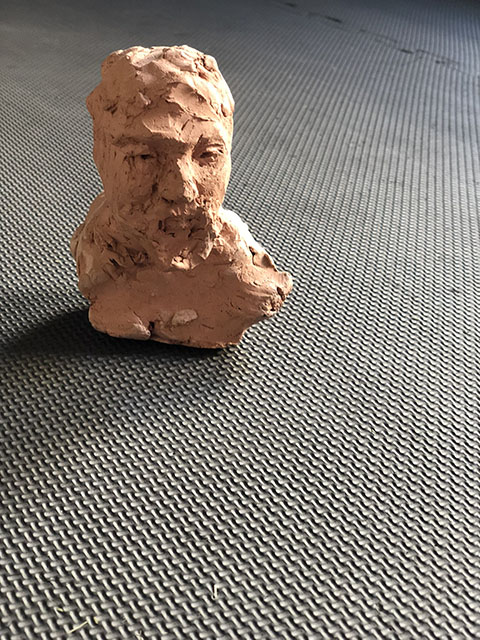 "Self Portrait.  Terra Cotta Clay.  By James ""Beardy"" Gasparick."