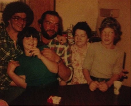 My mom, me, Uncle Jim, Grandma Gerber & cousin Shane (1980 something)