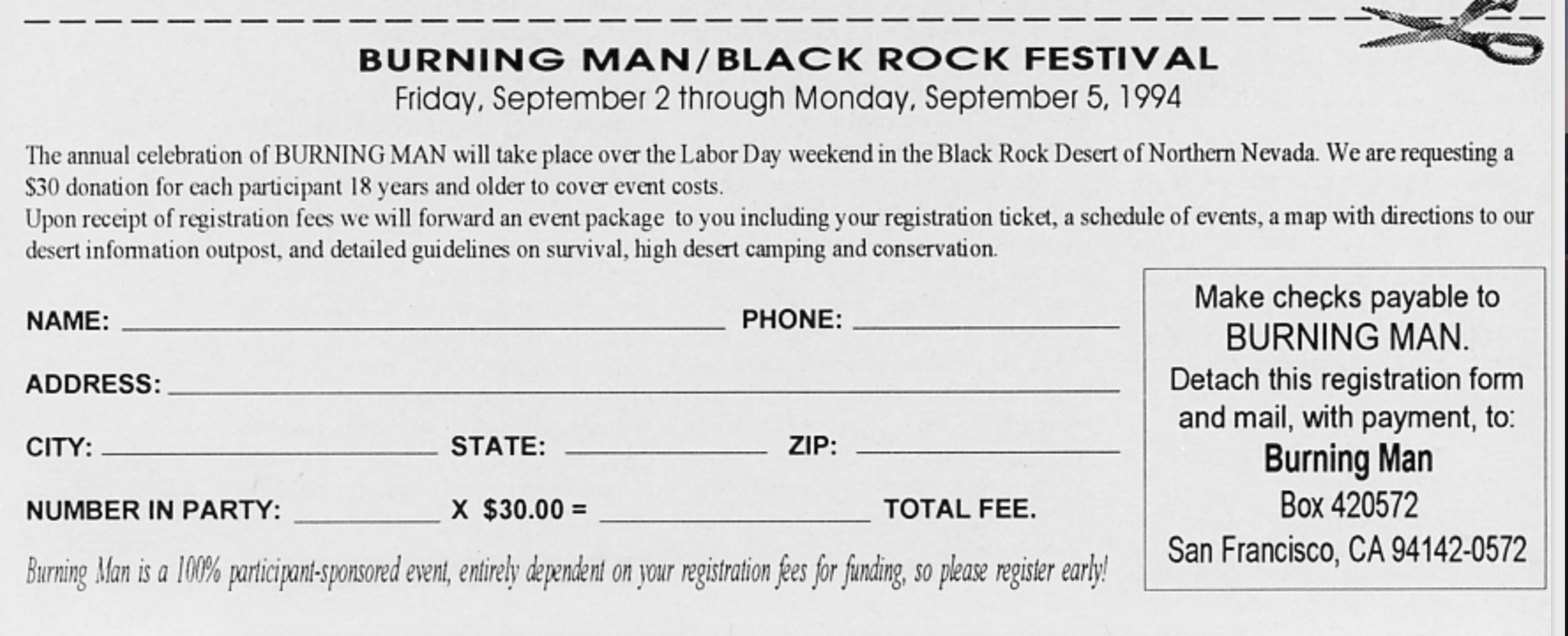 1994 Burning Man Registration - a $30 donation was requested and a ticket issued.