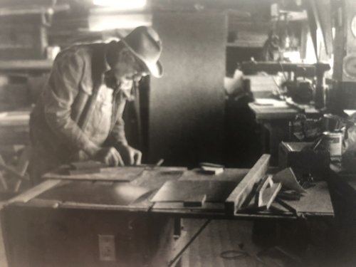 "Author (""Shorty"") Harvey in his home workshop"