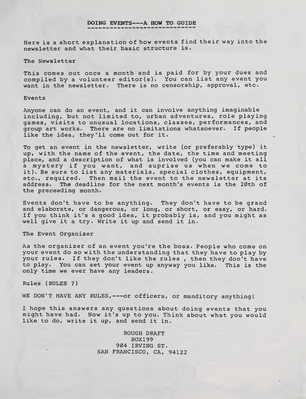 "The original SF Suicide Club ""How to"" Guide"
