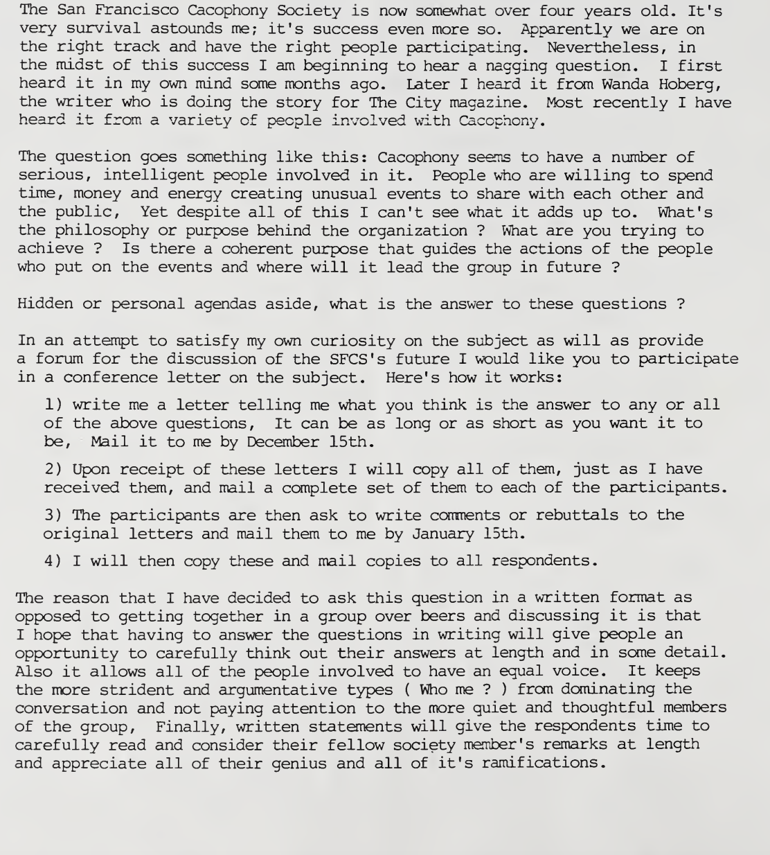 The Archives of Comments on the SF Cacophony Society (1990) -
