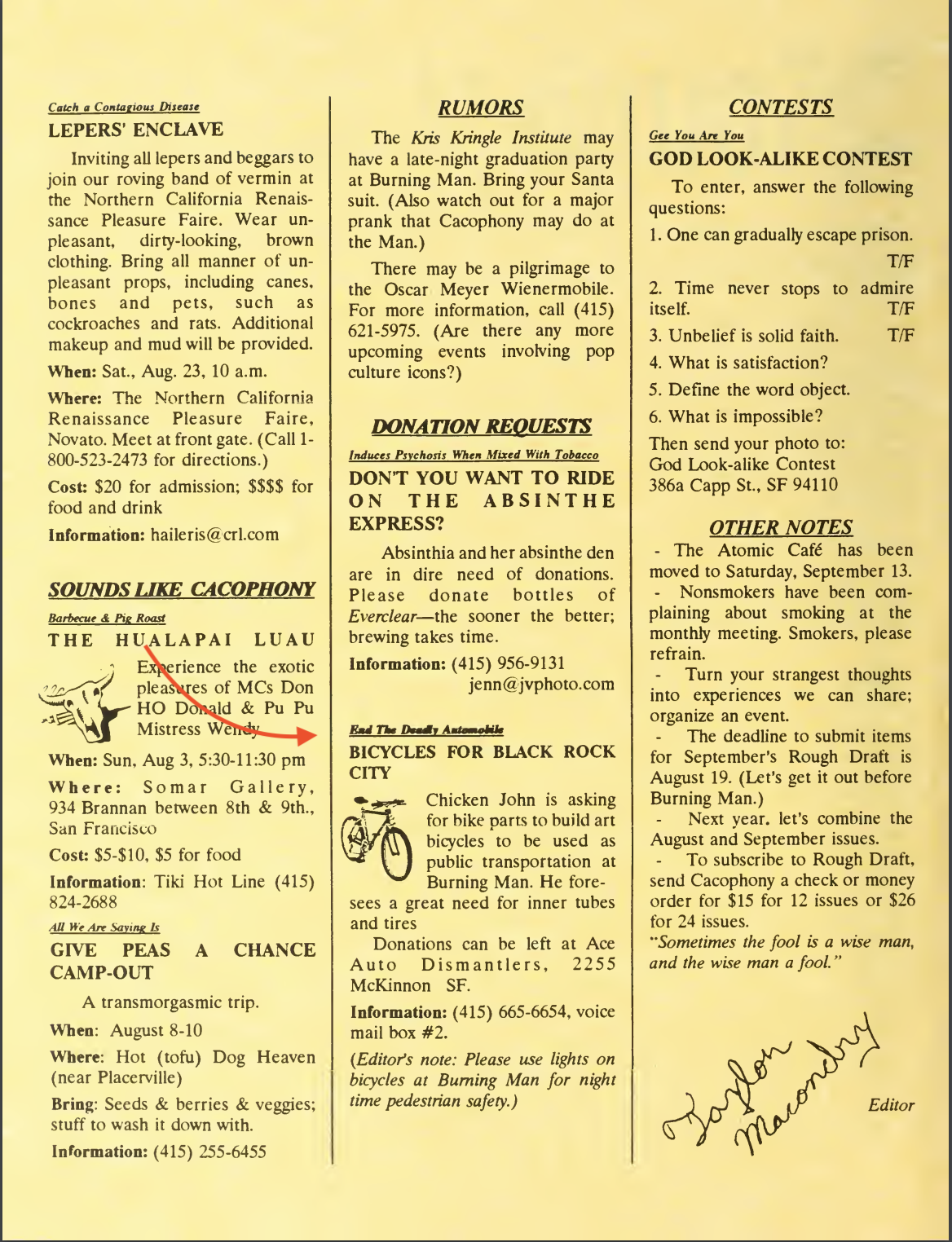 Aug 1997 - Bikes for Burning Man request.png