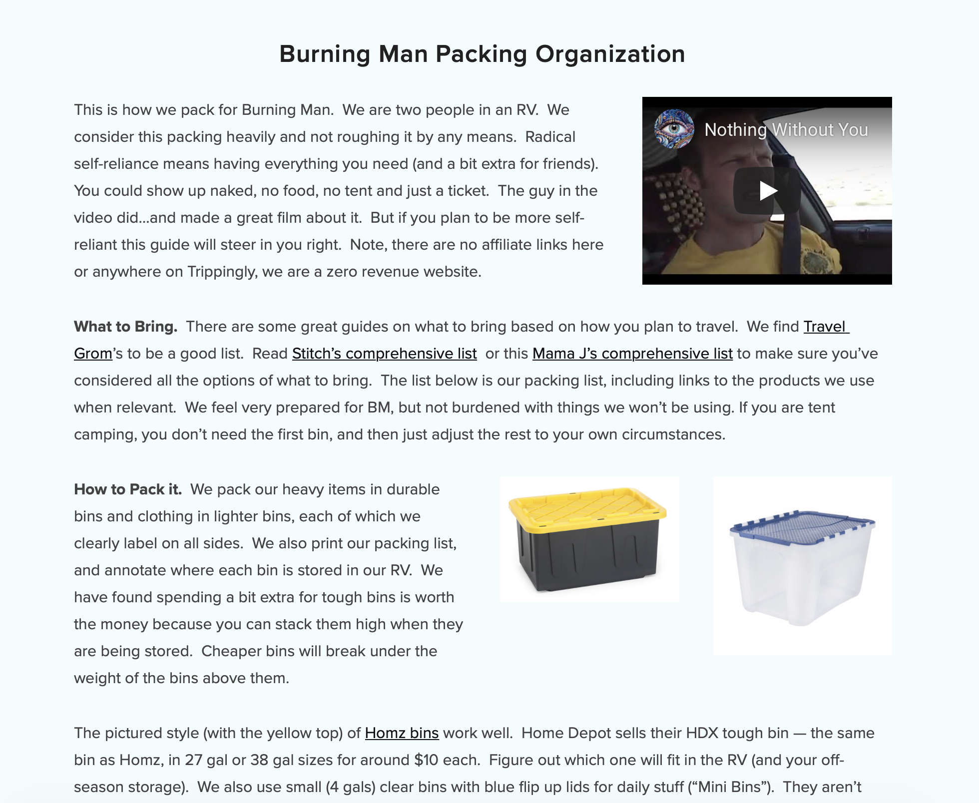 How to Pack for Burning Man -