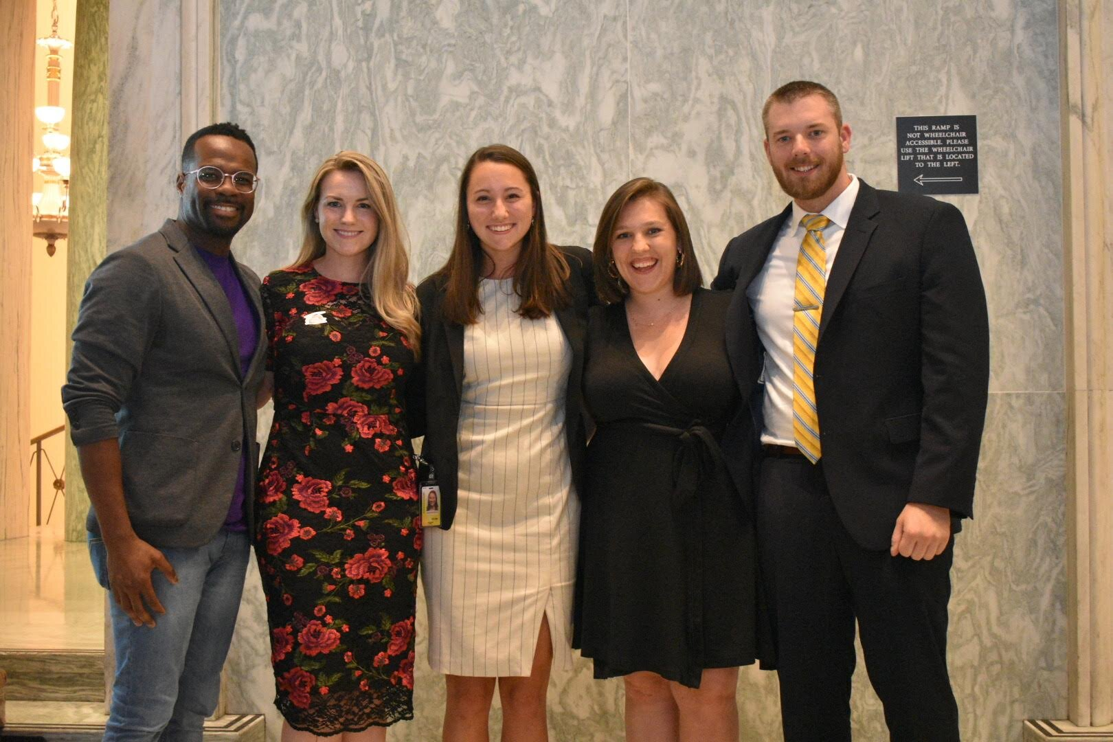 Left to right: Orie Ward, Executive Director, The Purple Aisle Audrey Henson, Founder & CEO, College to Congress Madison P., Student and program winner Maria Giannopouloss, Google Civics Outreach Ryan S., Student and program winner