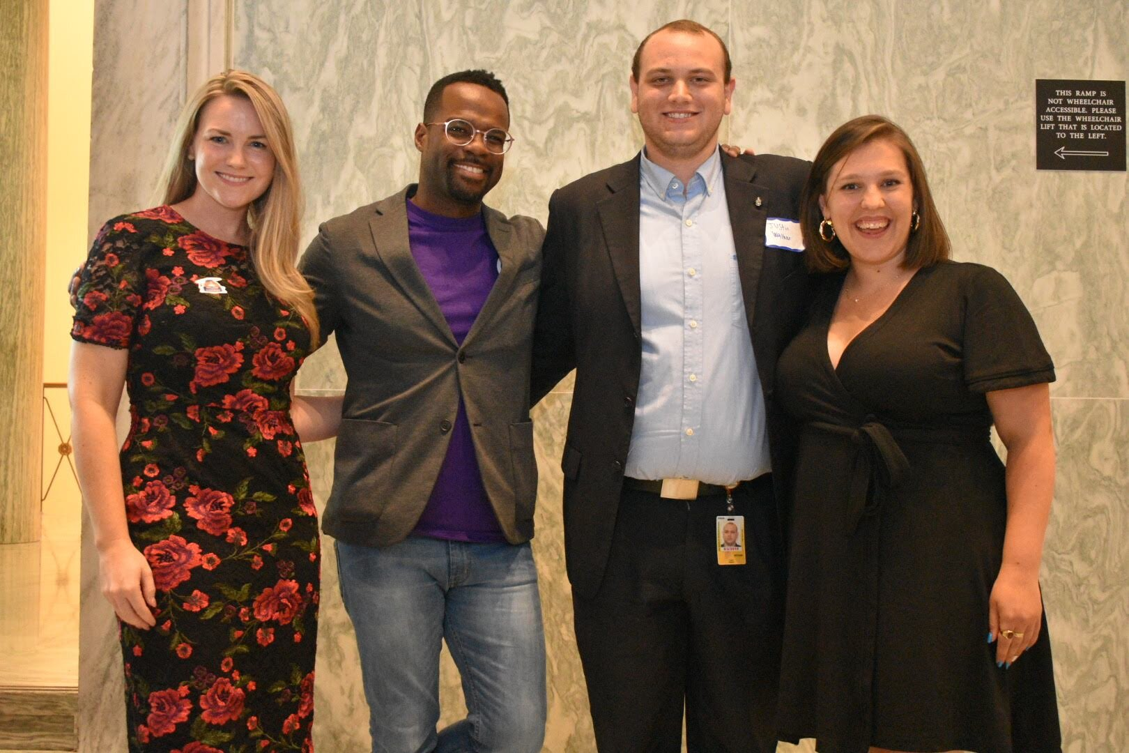 Left to right: Audrey Henson, Founder & CEO, College to Congress Orie Ward, Executive Director, The Purple Aisle Justin W, Student and public policy winner Maria Giannopouloss, Google Civics Outreach