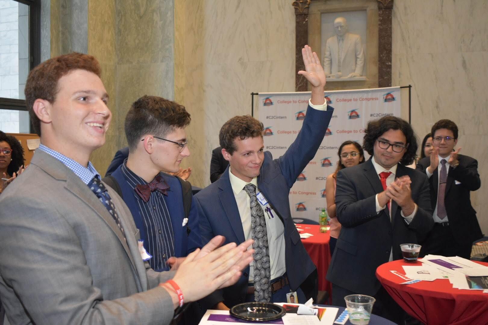 Runner up in Tech App category, Kyle D. (raised hand)