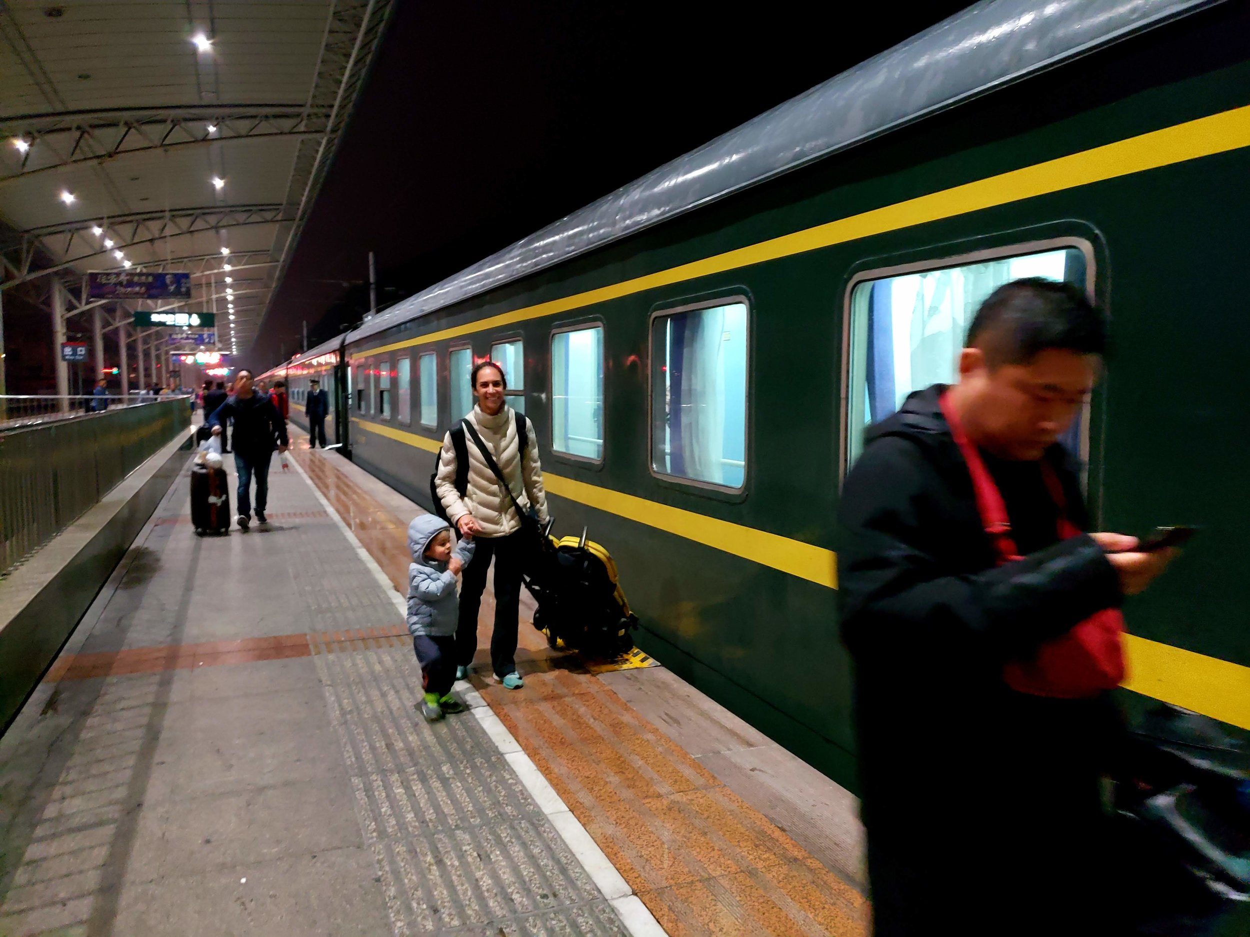 Trem noturno, com design mais antigo, mas muito bem conservado
