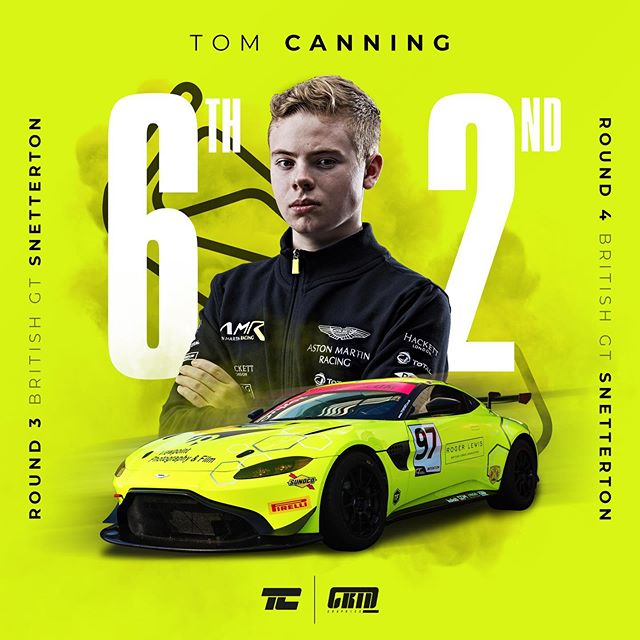 Great weekend for @tomcanningracing topped off with a podium in race 2! He took the silver pole on Saturday and the guys came through the field in race 1 to finish 6th in silver and 9th overall. Then 2nd overall in race 2 was the perfect ending! Great work Tom, @ashhand and @tf_sport!! #britishgt #tfsport #astonmartinracing #amracademy #astonmartin #tomcanning #97 #snetterton #racing #racingdriver #gridgraphics #motorsport