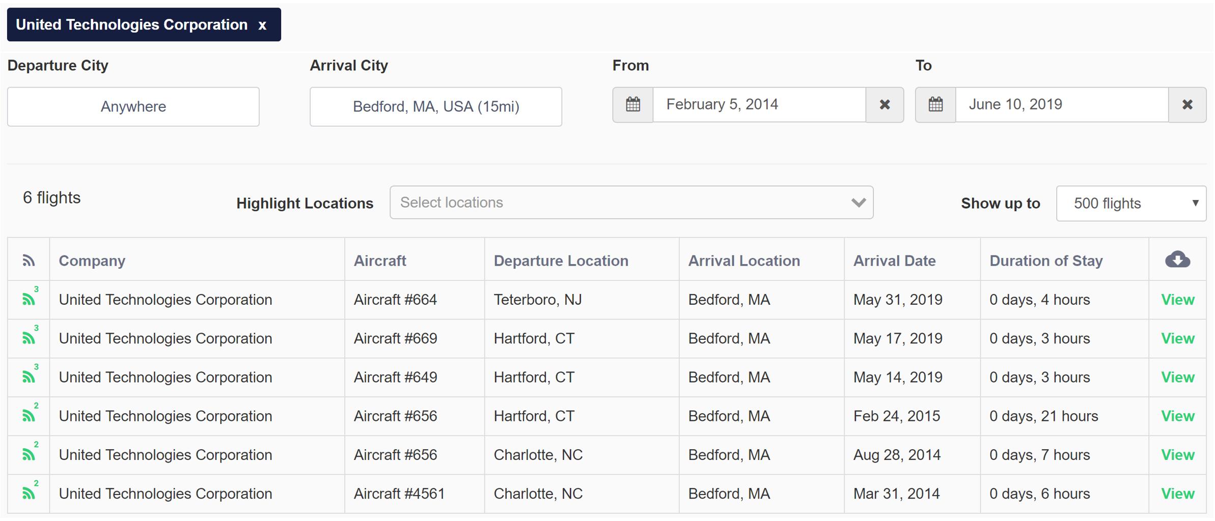 UTX Bedford Flights.PNG
