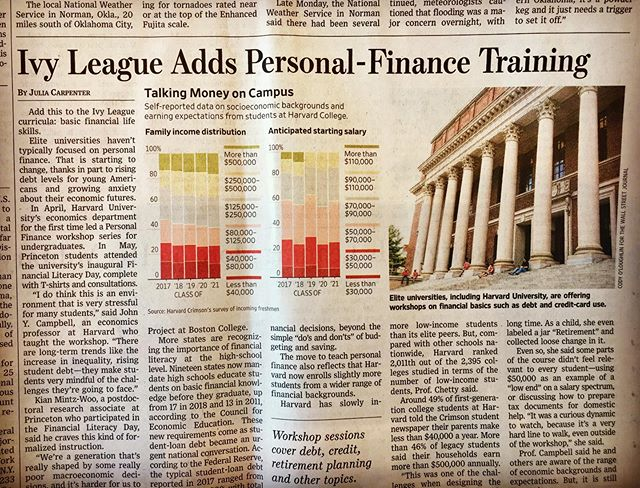 Ivy League Adds Personal Finance Training (WSJ 5/21/19) #Stocktails #ivyleague #beacraftyinvestor