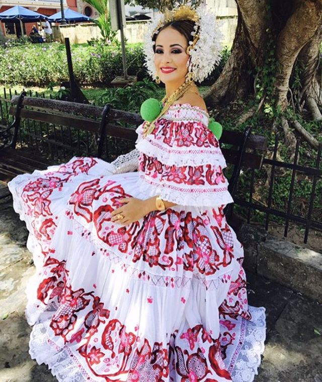 Example of a Red Gala Pollera. These are hand made by artisans in Panama and many are passed down from generation to generation.