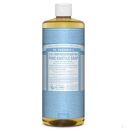 Dr. Bronner's Unscented Baby Pure Castile Soap can be used for numerous personal and household purposes. Its pure and natural plant base makes it an ideal alternative to harsh chemicals.