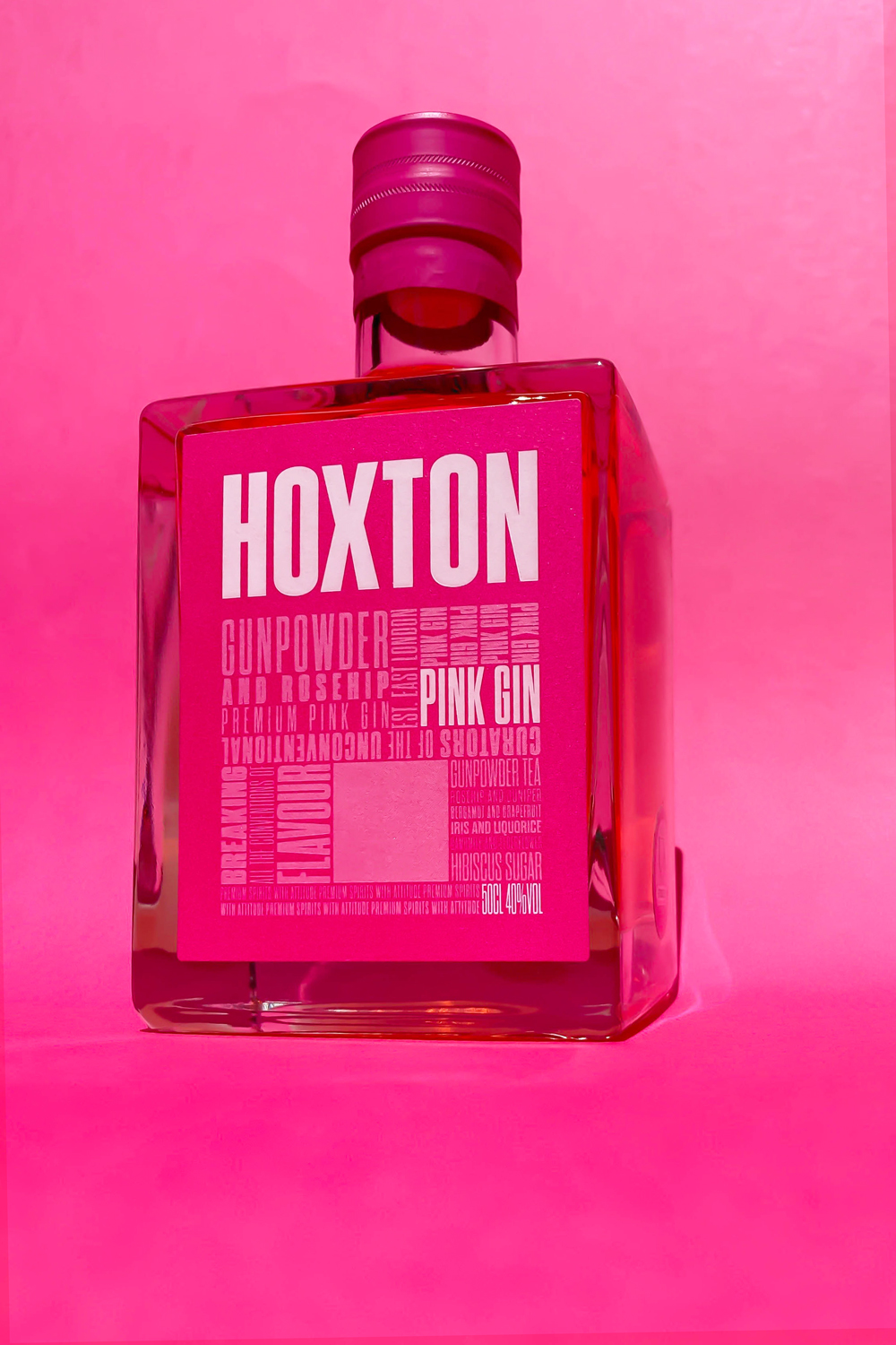 premium pink gin with a bang! Introducing the new look Hoxton Pink Gin. - Made using botanicals such as juniper, gunpowder tea, rosehip, grapefruit, liquorice, chamomile, elderflower and orris.
