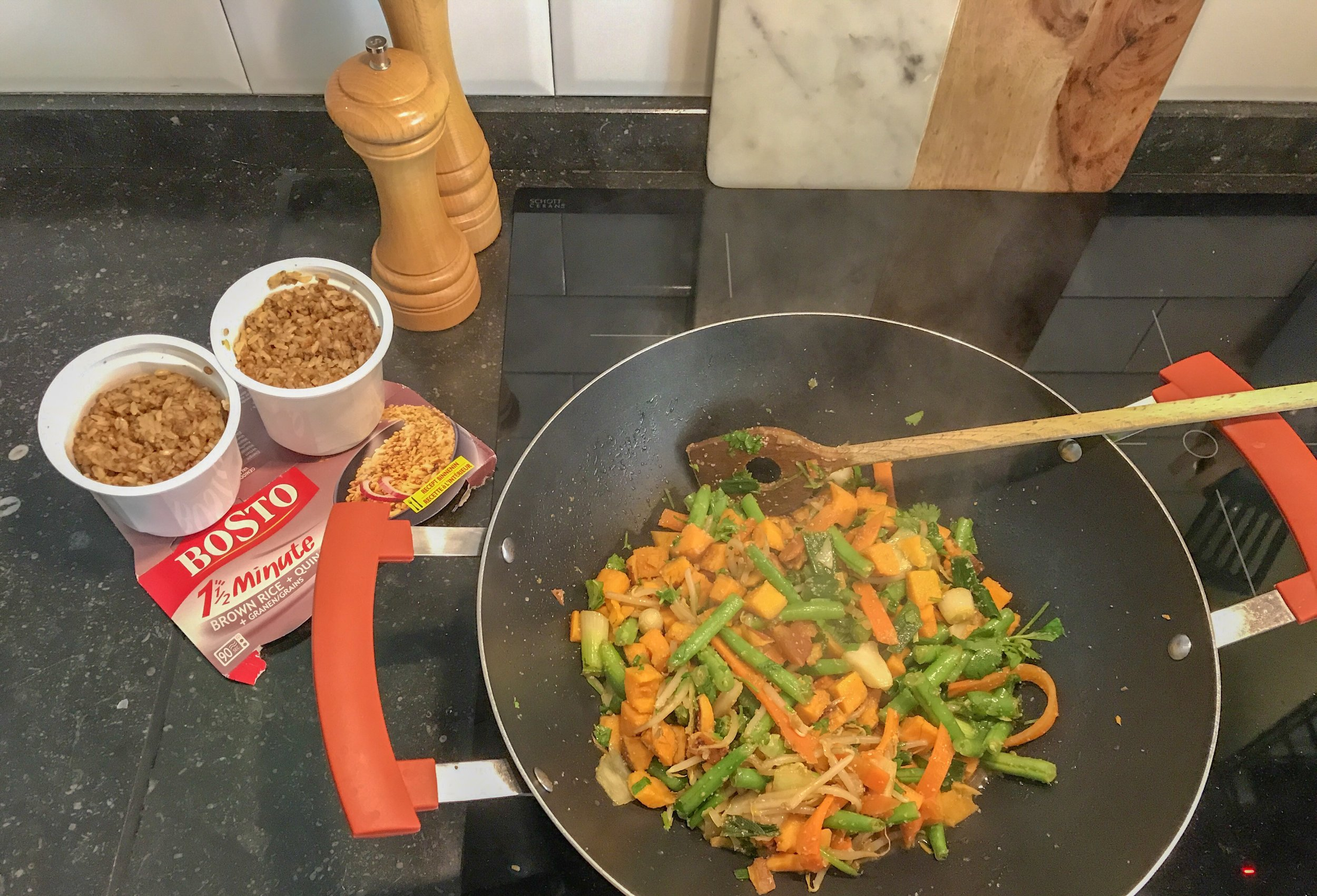 sweet potato, green bean, carrot and soy bean stirfry with Bosto brown rice and quinoa.