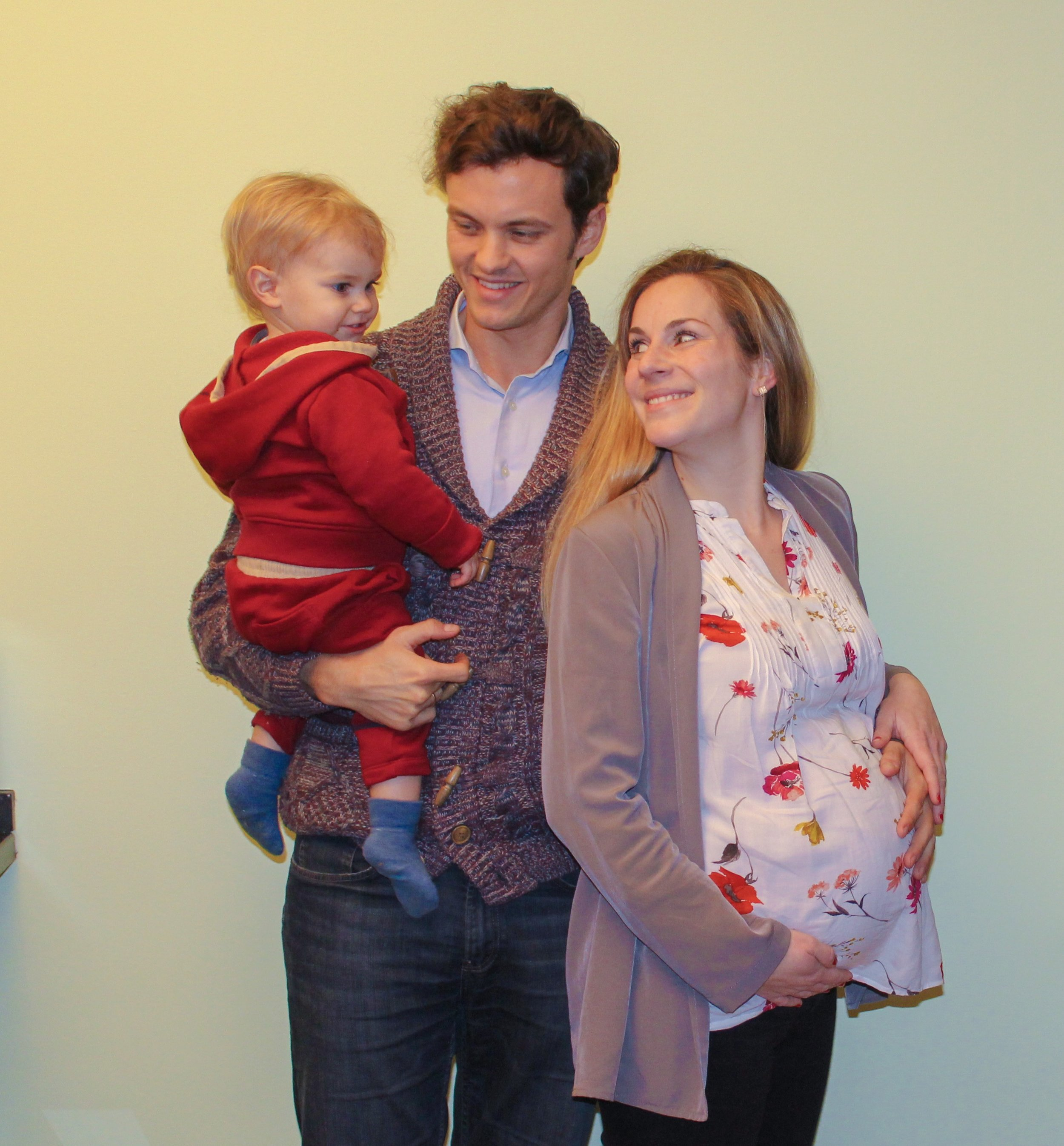 A quick picture of us as a family of three for the last time, before leaving for the hospital.
