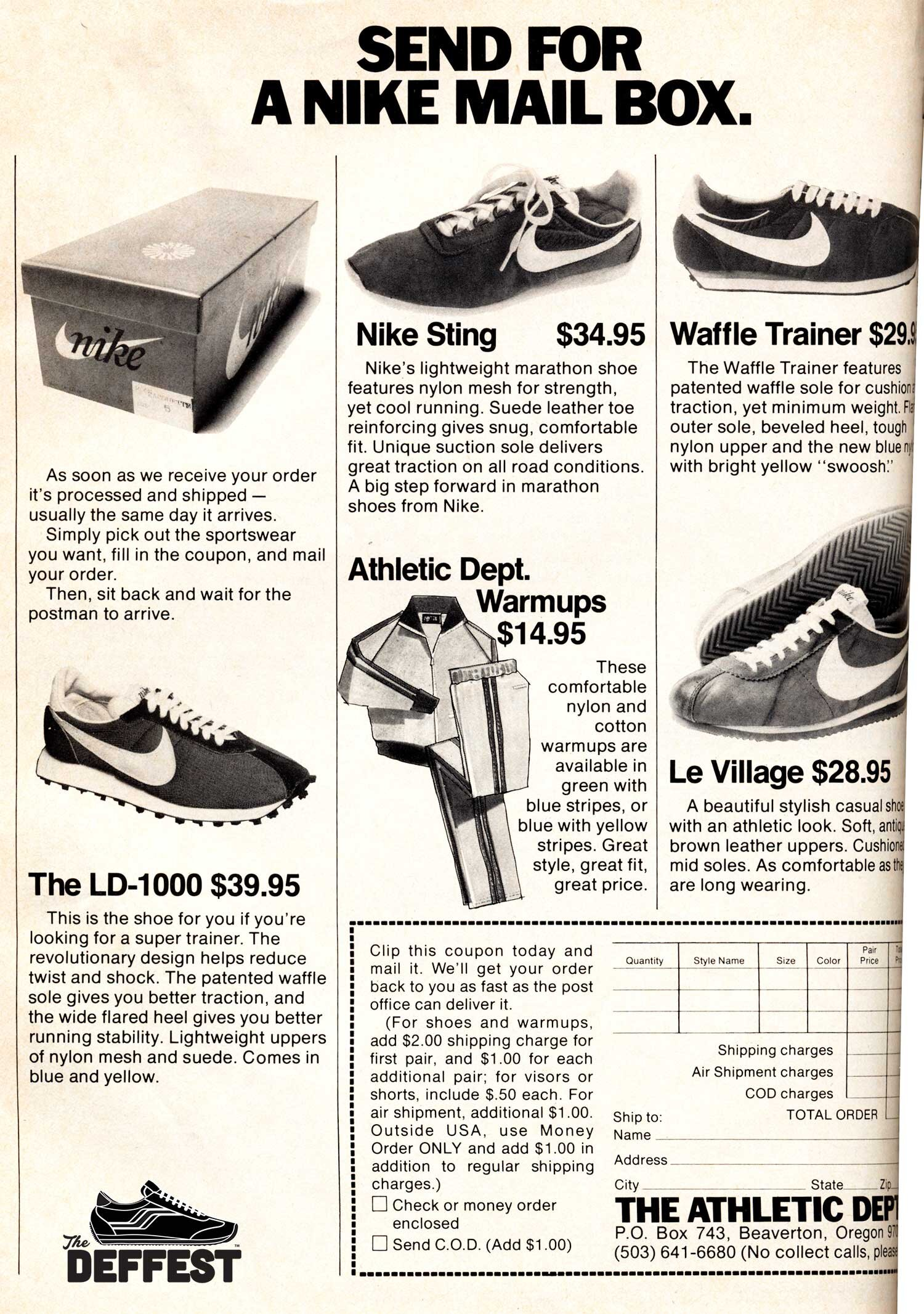 Vintage Nike LD-1000, Sting, Waffle trainer and Le Village 1977 sneaker ad @ The Deffest