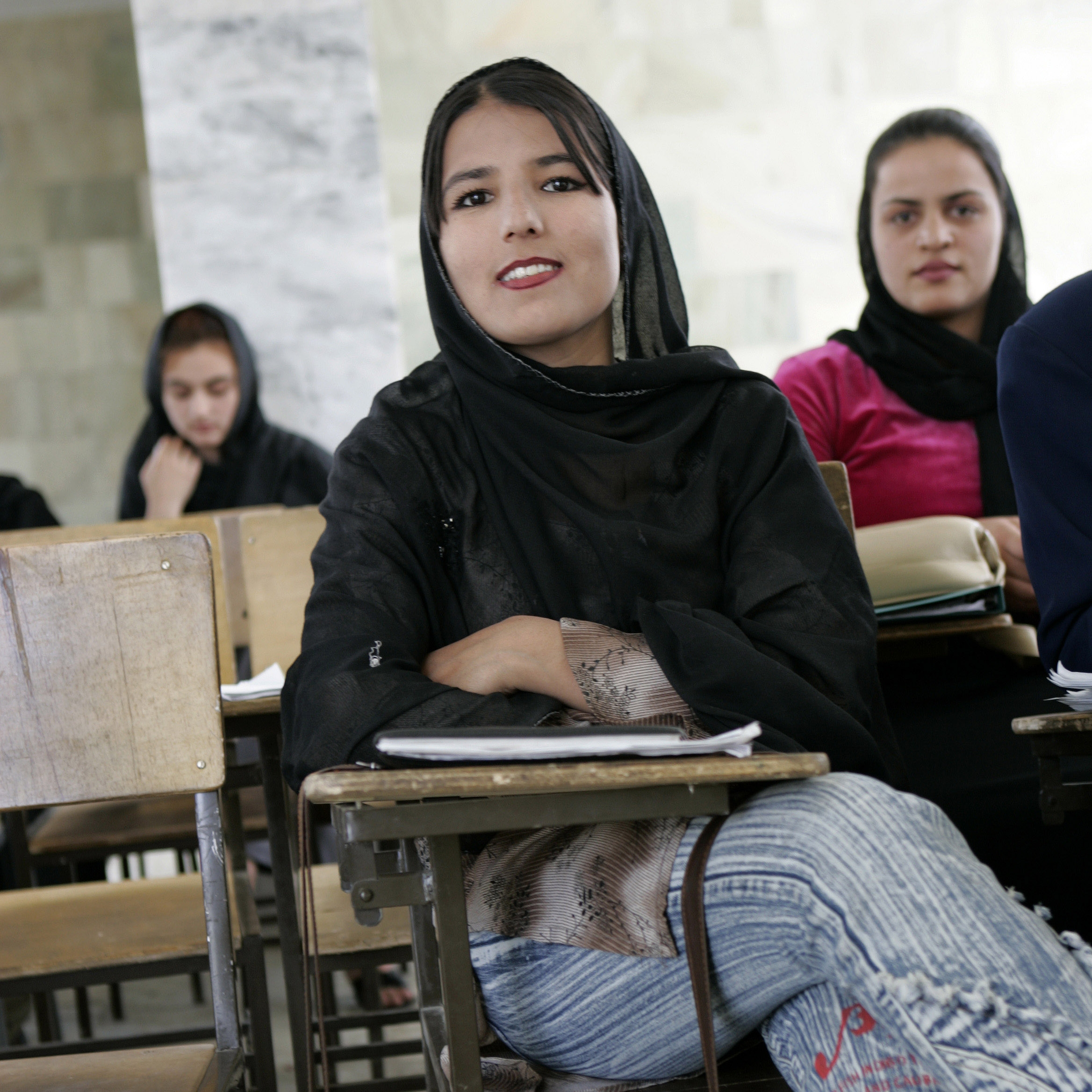 Students at the mixt University of Education, Kabul, Afghanistan. Photo: Alexandra Boulat. Sept. 2004.
