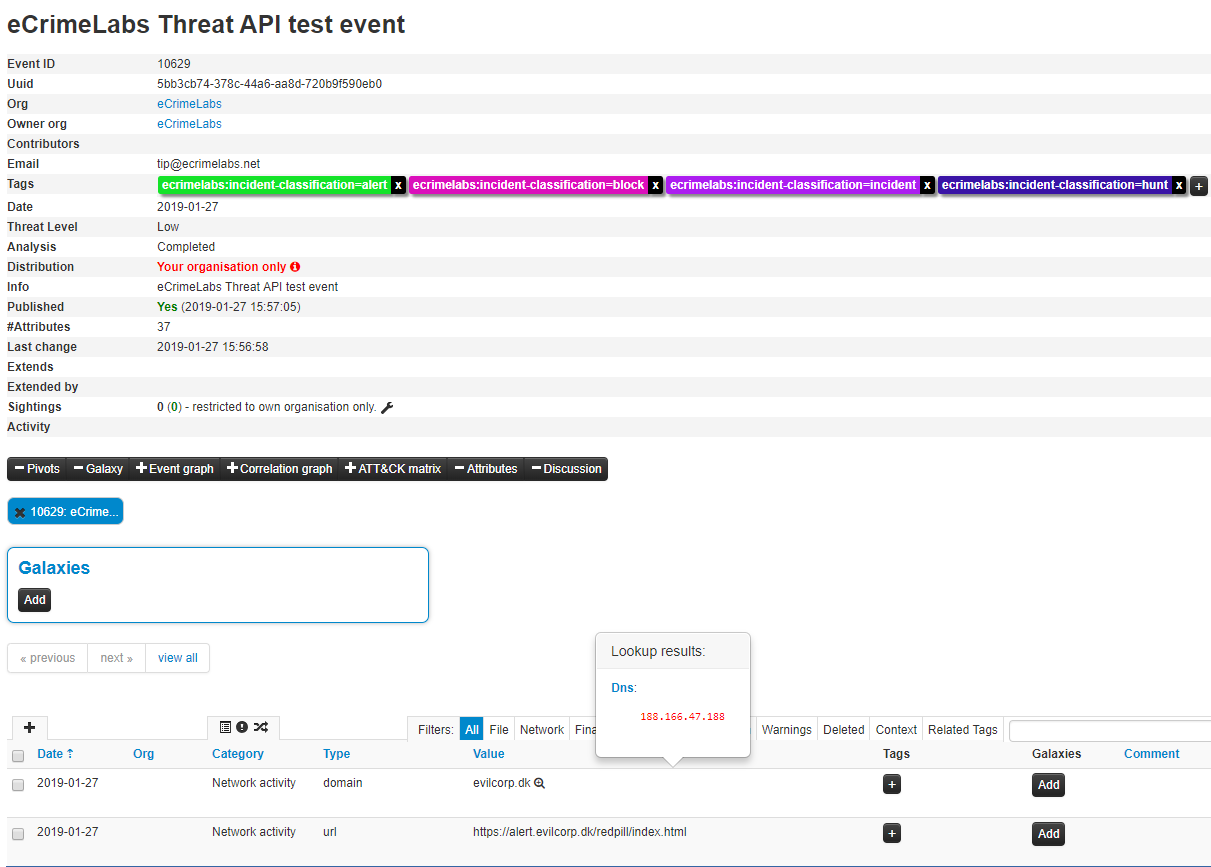The integration uses the same functionality as with the other feeds Cratos API provides, meaning when you add custom tags in your MISP instance it becomes avaliable in the Cratos API for your security components to consume.