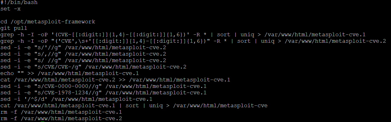 example of a bash script to extract CVE's from Metasploit