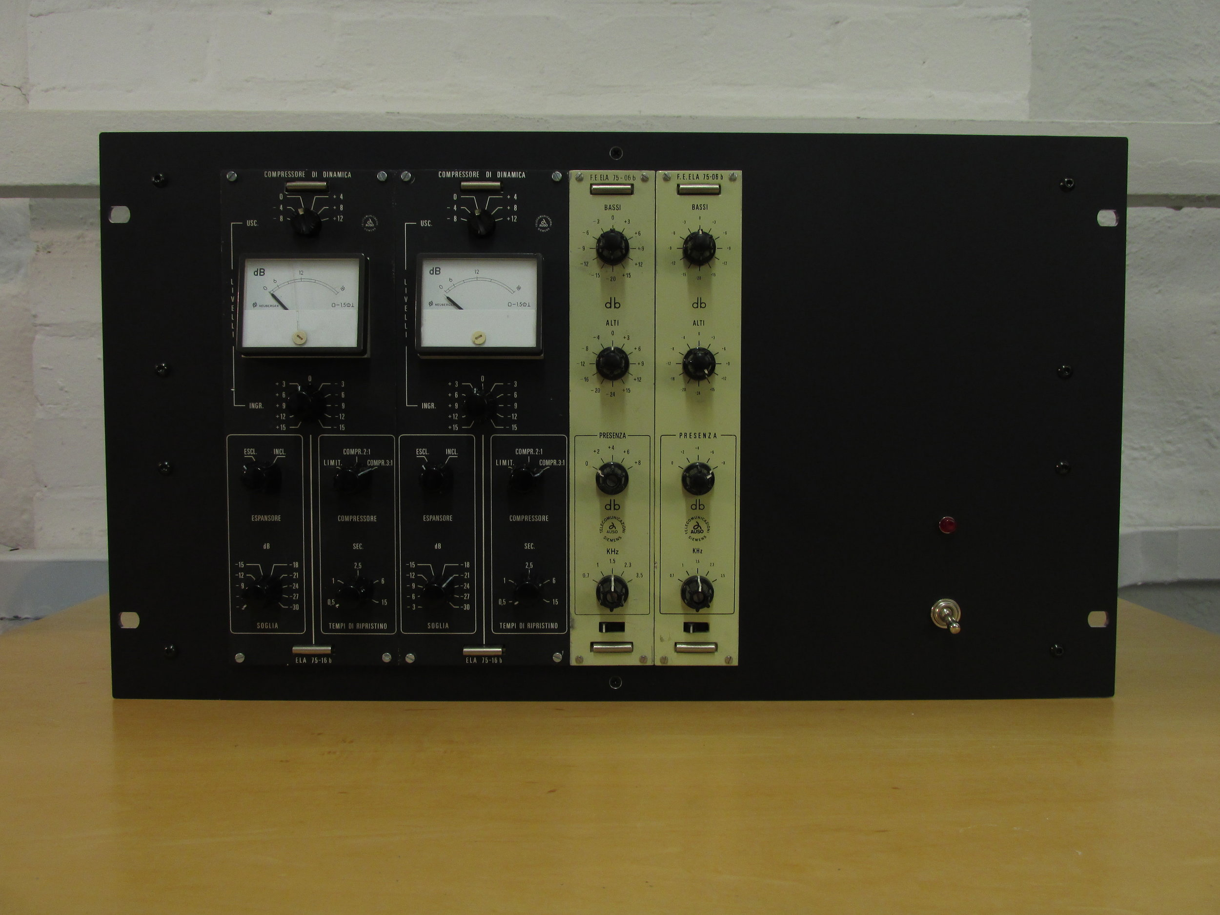 Vintage Auso mastering level dynamics and eq modules. Racked up in a custom chassis with internal power supply and in / out connectors.