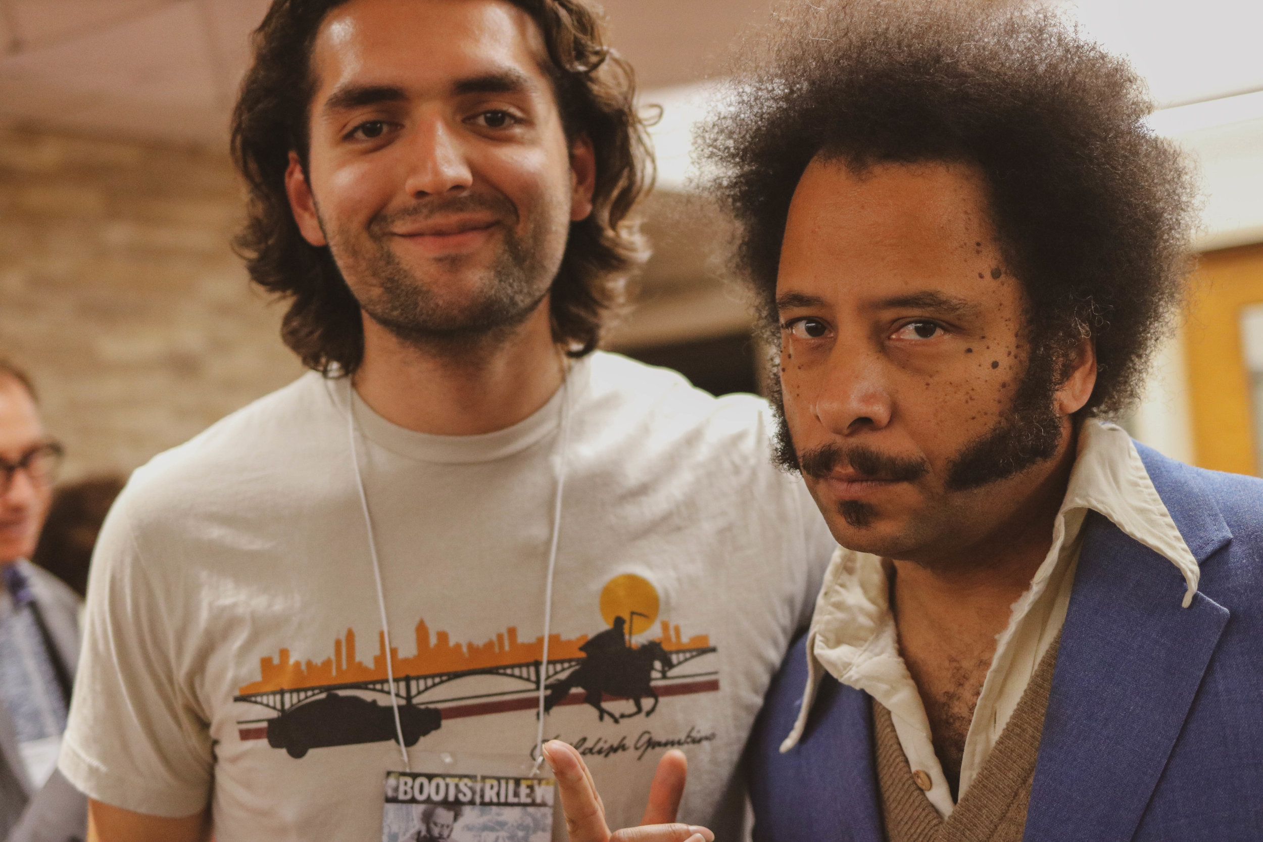 Boots Riley - Sohile Ali pictured with the Sorry to Bother You writer and director, Boots Riley. October 2018. Indiana University.
