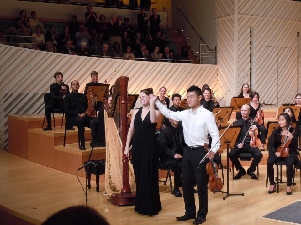 2011: Final bow with Daisuke Yamamato after performing Bruch's Scottish Fantasy with the New World Symphony