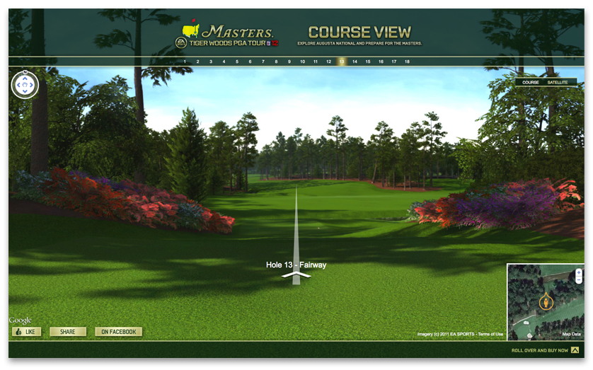 Navigate the course via the Satellite View function that features an aerial view of the real Augusta National course.