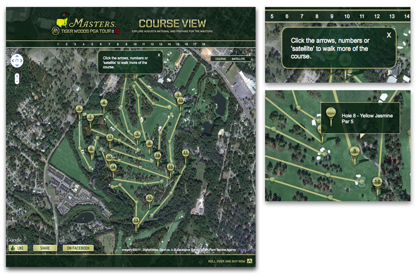 Or walk digital replicas of each of its 18 legendary holes just like you would on Google Street View.