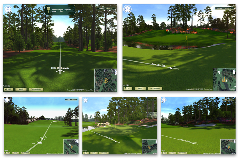 """Course View lives right on the Tiger Woods PGA Tour Facebook Page. Sharing the entire experience is as simple as """"liking,"""" clicking one of the share buttons or copying and pasting a few lines of code. Course View helped the Tiger Woods PGA Tour Facebook Page traffic skyrocket by more than 41,000 """"likes"""" in the first month alone."""