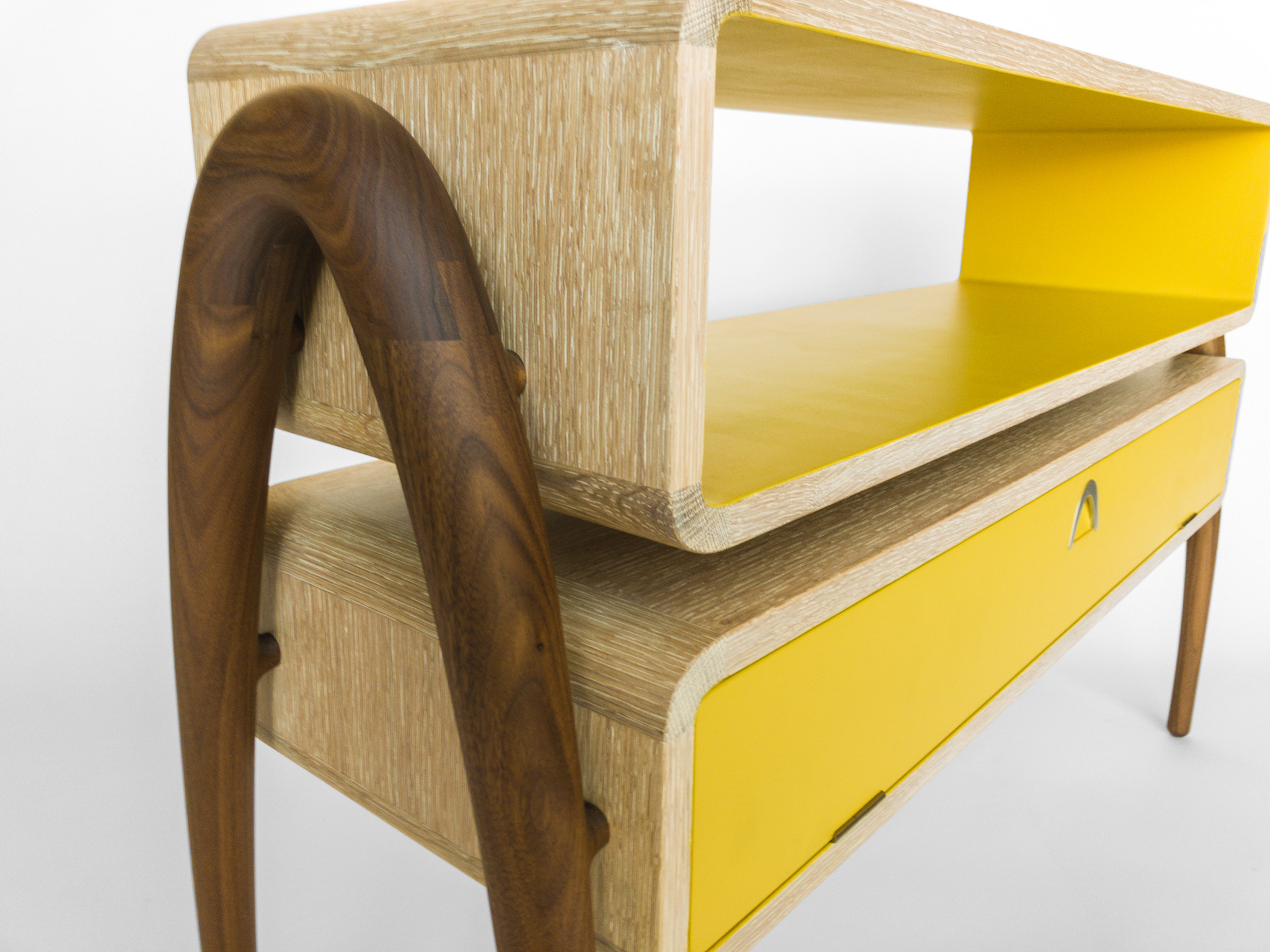 Console Table - Oak/walnut console table created for children's room in Vail residence. Client wanted something functional yet playful that could house baby monitor, reading materials, TV remotes, and a sculpture.In collaboration with Cecilia Tanoni | 2017