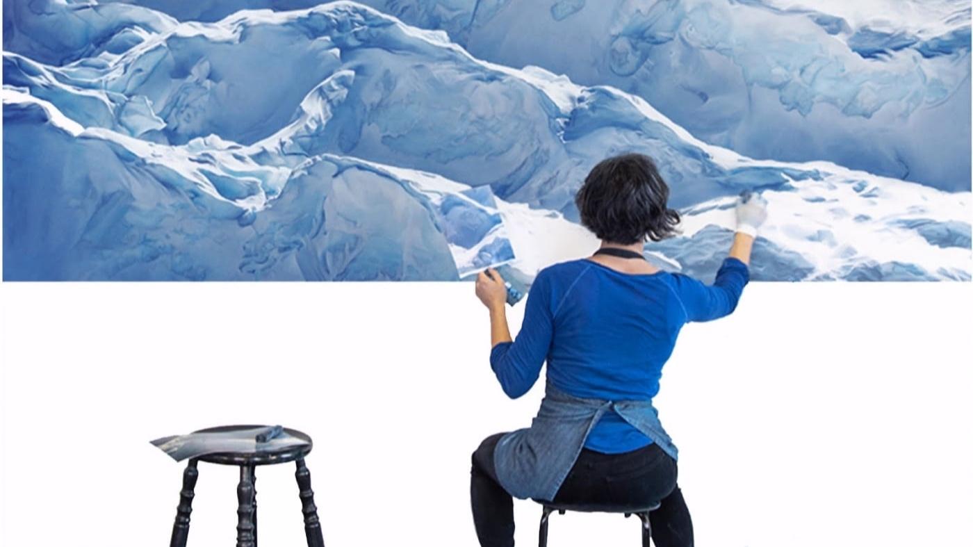 hyperrealistic glacier paintings by Zaria Forman