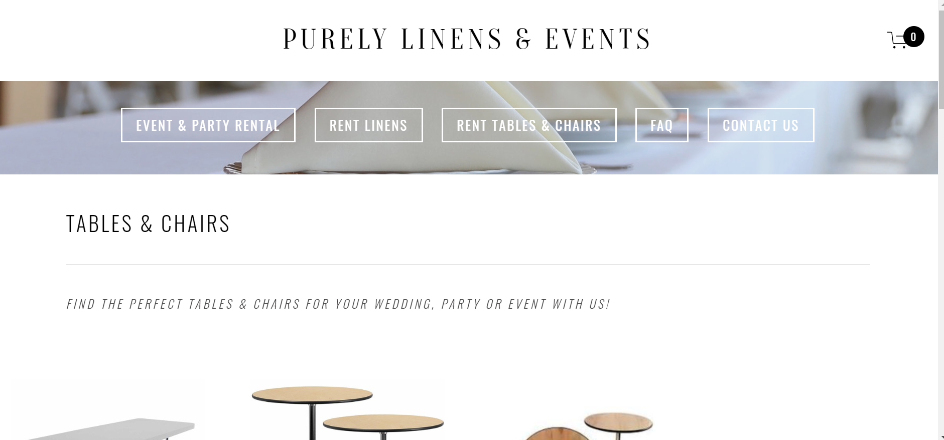 pURELY lINENS & eVENTS - E-COMMERCE