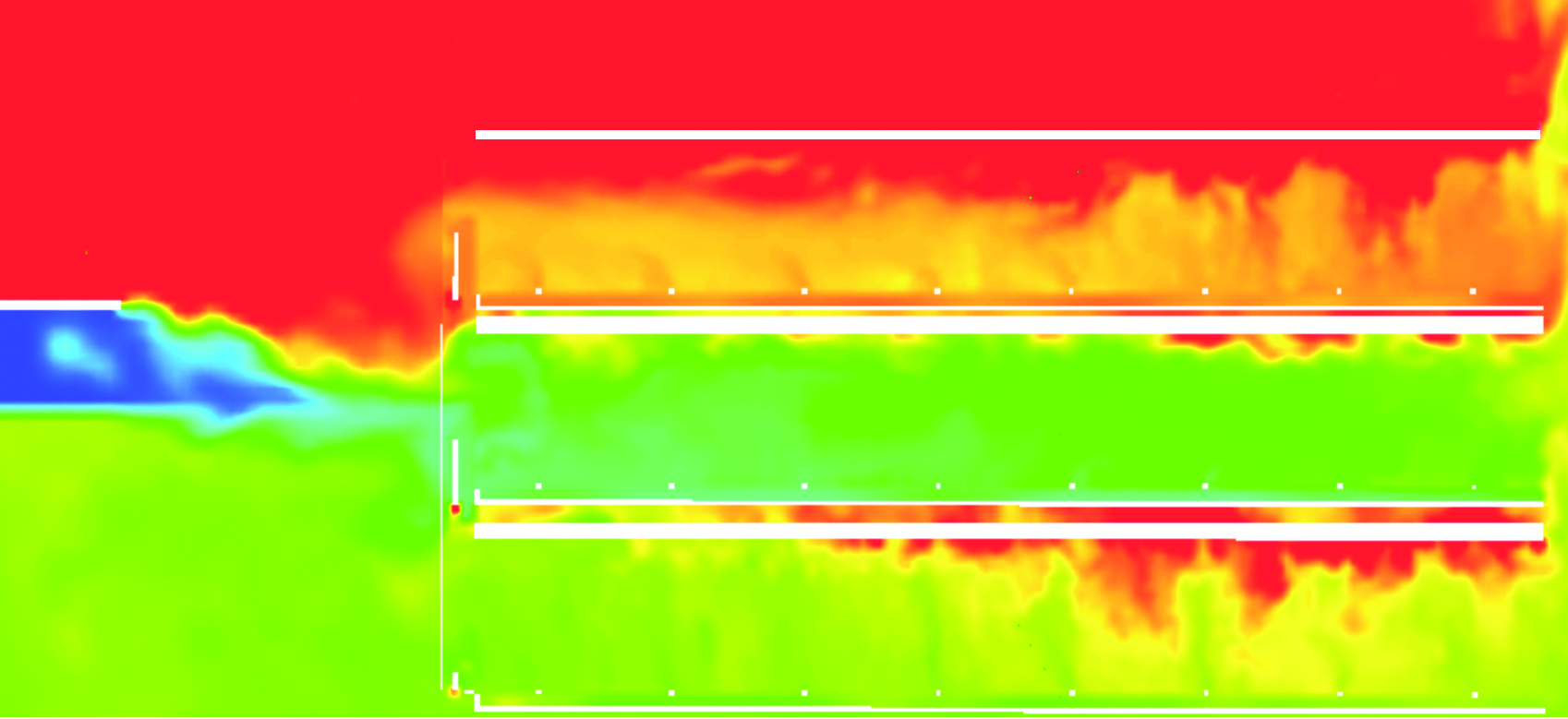 Sample CFD temperature model of a traditional vertically stacked grow that demonstrates how heat accumulates.