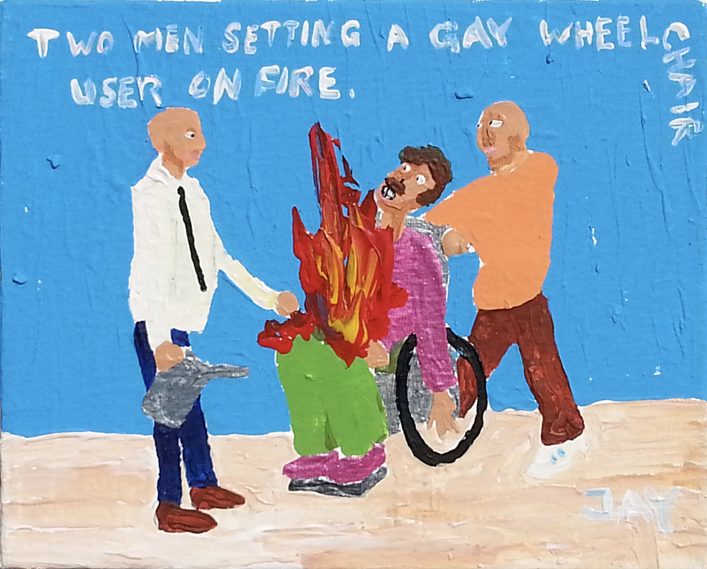 """Two men setting a gay wheelchair user on fire"" Jay Rechsteiner"