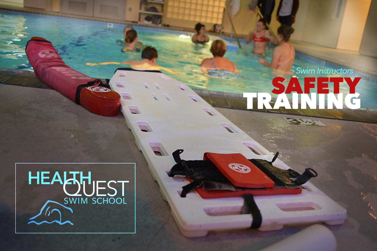 The team gathers in the 82º Fit Pool at HealthQuest for Safety Training