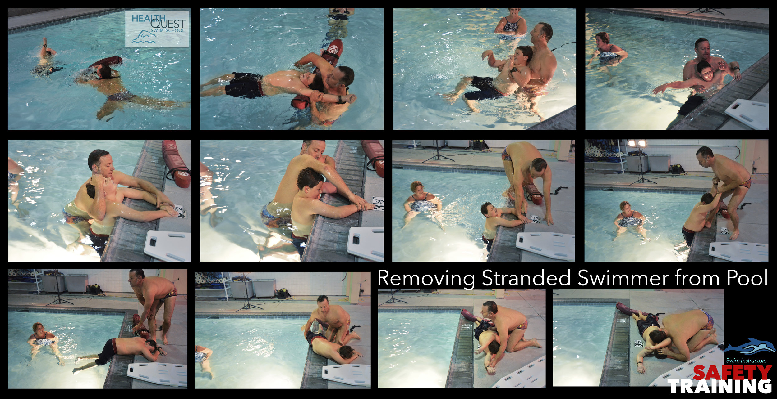 The tricky technique of staying safe while retrieving a distressed swimmer from within the pool and pulling the swimmer out of the pool were demonstrated by Tracy and Chris.