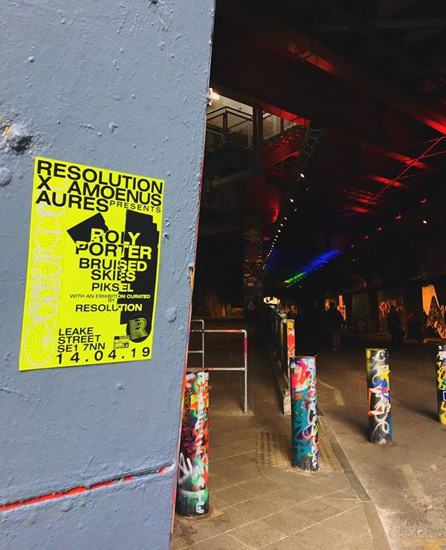 The poster for our upcoming Resolution x Amoenus event, created by Liam Cosford, in the iconic Leake Street where the Aures venue is located. The event, in collaboration with Christian Duka, features Roly Porter, Bruised Skies and Piksel alongside an exhibition featuring Daphne Oram, diffused by Joy Stacey, and Emmanuel Spinelli.⁣ ⁣ Final tickets are now on sale, link in bio.⁣ .⁣ .⁣ .⁣ .⁣ .⁣ .⁣ .⁣ .⁣ .⁣ .⁣ .⁣ .⁣ .⁣ .⁣ .⁣ .⁣ .⁣ .⁣ .⁣ .⁣ .⁣ .⁣ #resolution #resolutionevents #music #livemusic #surroundsound #audiodiffusion #art #electronicmusic #goldsmiths #multichannel #experimental #immersive #projection #techno #idm #diy #diymusic #drone #ambient #glitch #digital #projectionmapping #modular #modularsynths #dark #liveelectronicmusic #noise #residentadvisor #mixmag #boilerroom