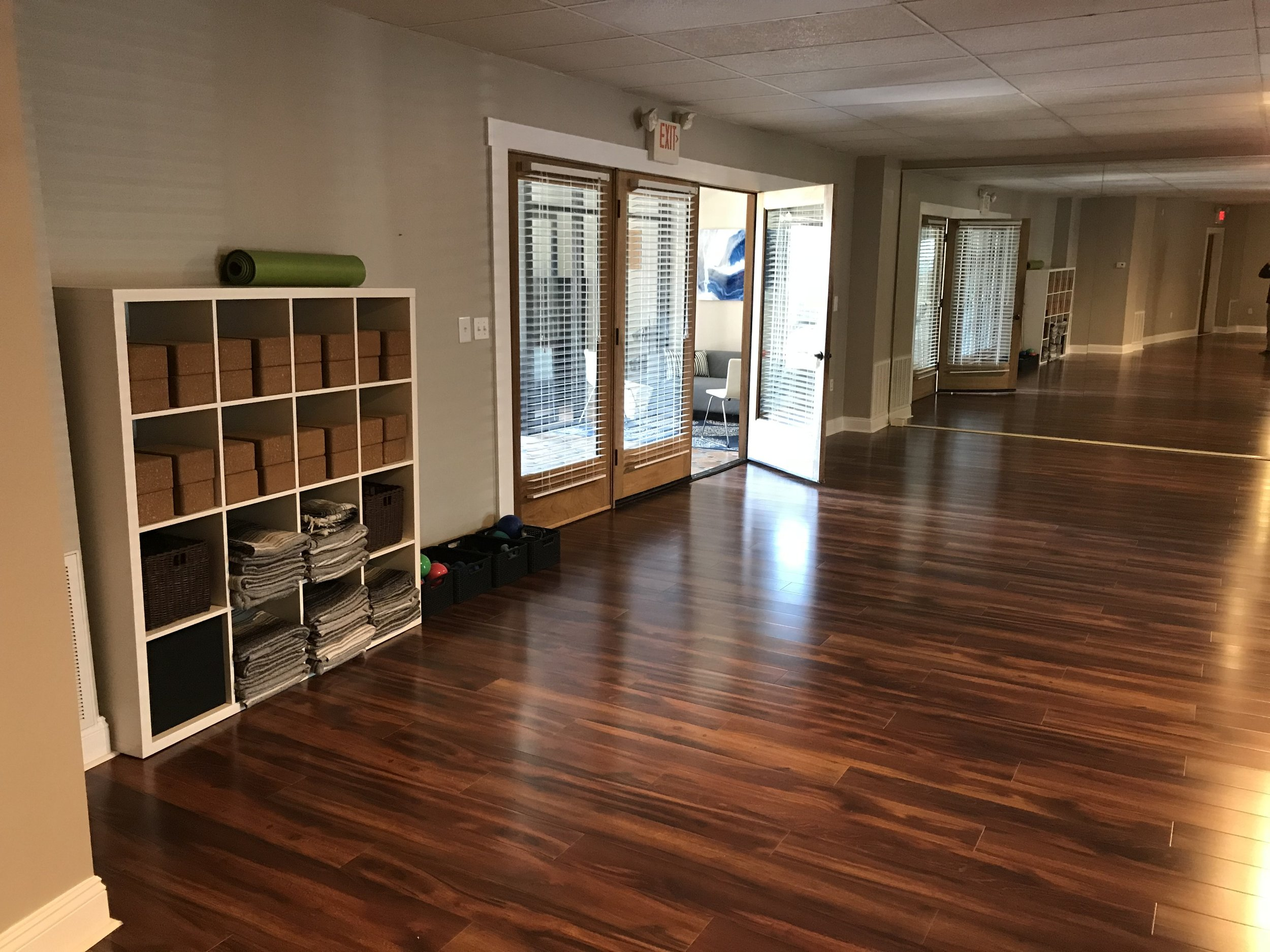 All yoga classes are done at a comfortable room temperature. Studio conveniantly located on the Main Line in Wynnewood PA.