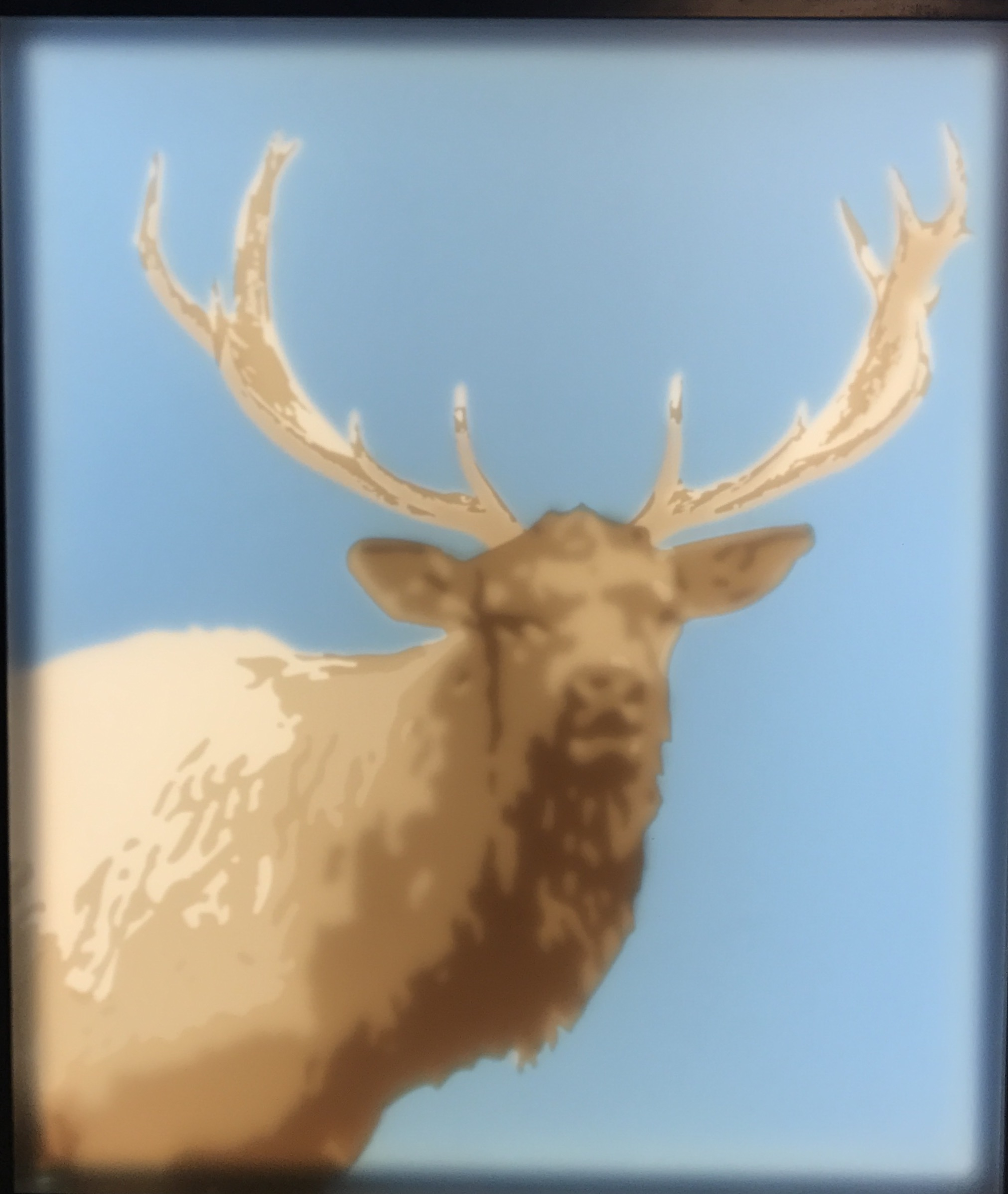 Printed plexiglass artwork of an elk in blue and gold.